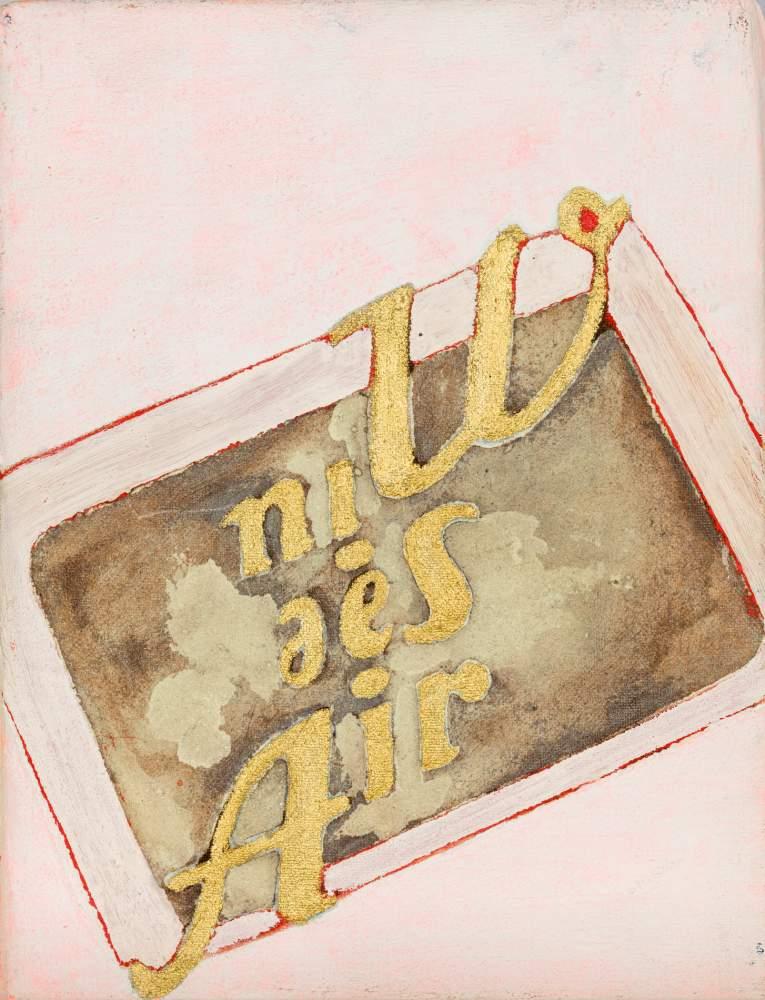 Brigitte Kowanz (Wien 1957 geb.)  Win See Air Mischtechnik mit Goldlack auf Leinwand 24,5 x 18,5