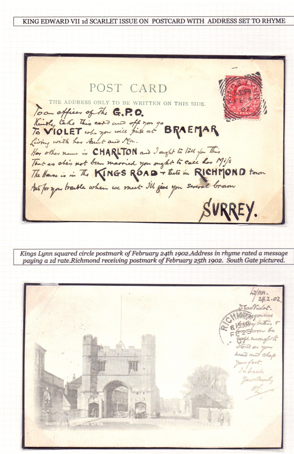 Lot 285 - GREAT BRITAIN POSTAL HISTORY 1902 Post C