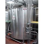 WALKER 2,000 Gallon Hinged-Lid Flat-Bottom 316L S/S Processor : SN 7254, with Wide Sweep Vertical