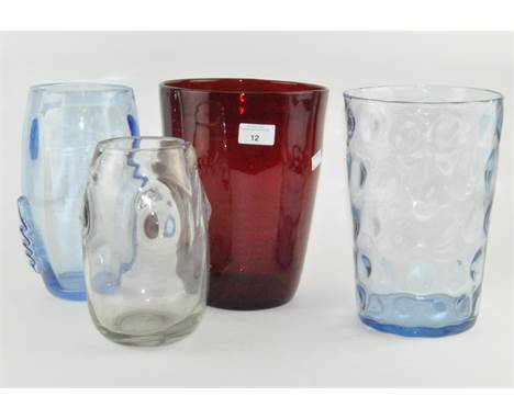 Four large Whitefriars vases, all by William Wilson, largest 25cm high by 17cm diameter