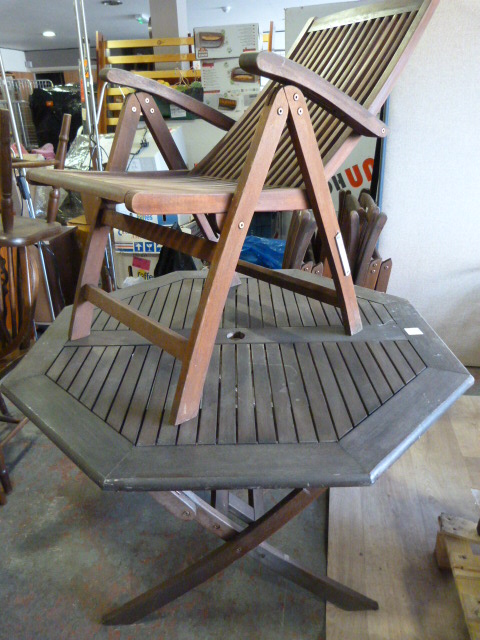 Lot 38 - Folding Wooden Garden Table & 4 Folding Chairs