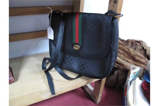 A Vintage Gucci Shoulder Bag In Black Leather And Monogrammed Canvas With Green Red Stripe