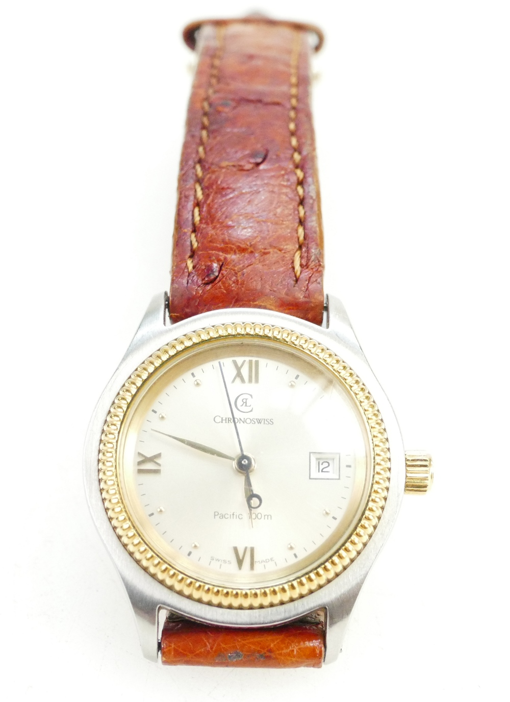 Lot 1095 - Ladies Chronoswiss Ladies wristwatch with brown leather strap,