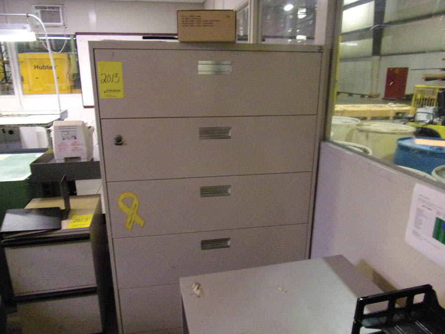 (4) DESKS, CHAIRS, (2) PC'S, (1) PANASONIC COPIER, LATERAL FILE CABINET - Image 2 of 3