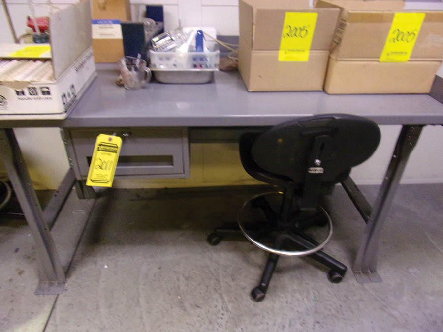 (3) METAL WORKBENCHES, (1) W/ OVERHEAD LIGHT, POWER STRIP - Image 3 of 3