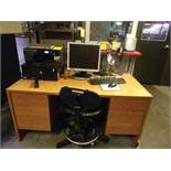 DESK, CHAIR, CART W/ PC, KEYBOARD & (2) HP COPIERS - OFFICEJET 8210 & 6230
