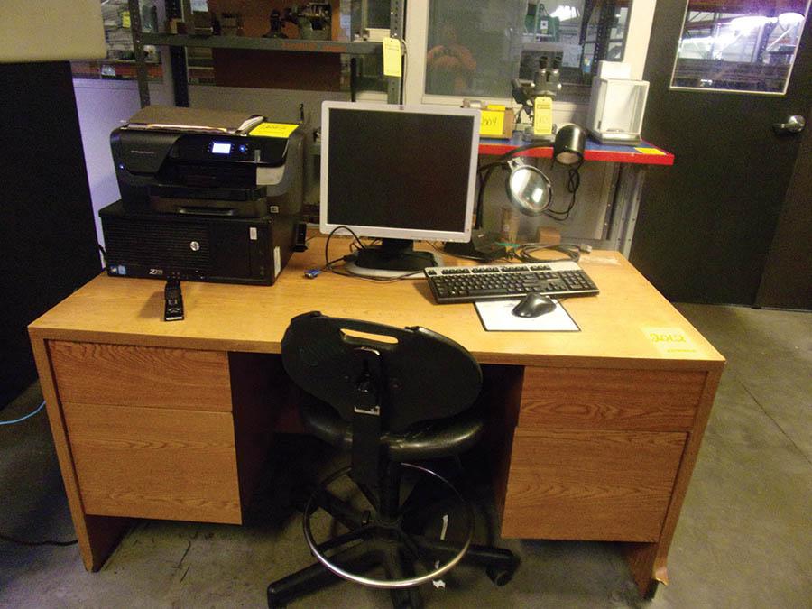 DESK, CHAIR, CART W/ PC, KEYBOARD & (2) HP COPIERS - OFFICEJET 8210 & 6230