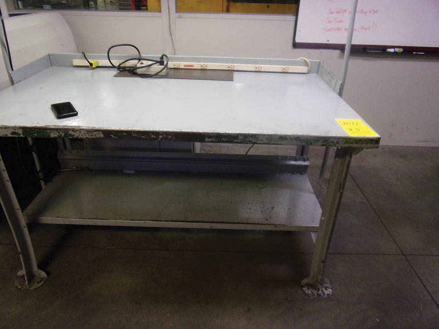 (3) METAL WORKBENCHES, (1) W/ OVERHEAD LIGHT, POWER STRIP - Image 2 of 3