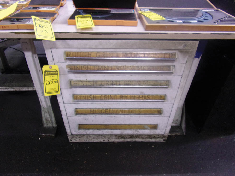 6-DRAWER VIDMAR CABINET WITH PIN GAUGES, GRIND ROUNDMASTERS