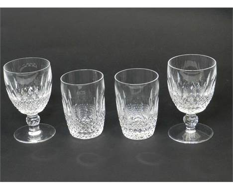 A large suite of Waterford Crystal in the Colleen patterncomprising twenty-four tumblers, 11cm high; twenty-four goblets, 13.