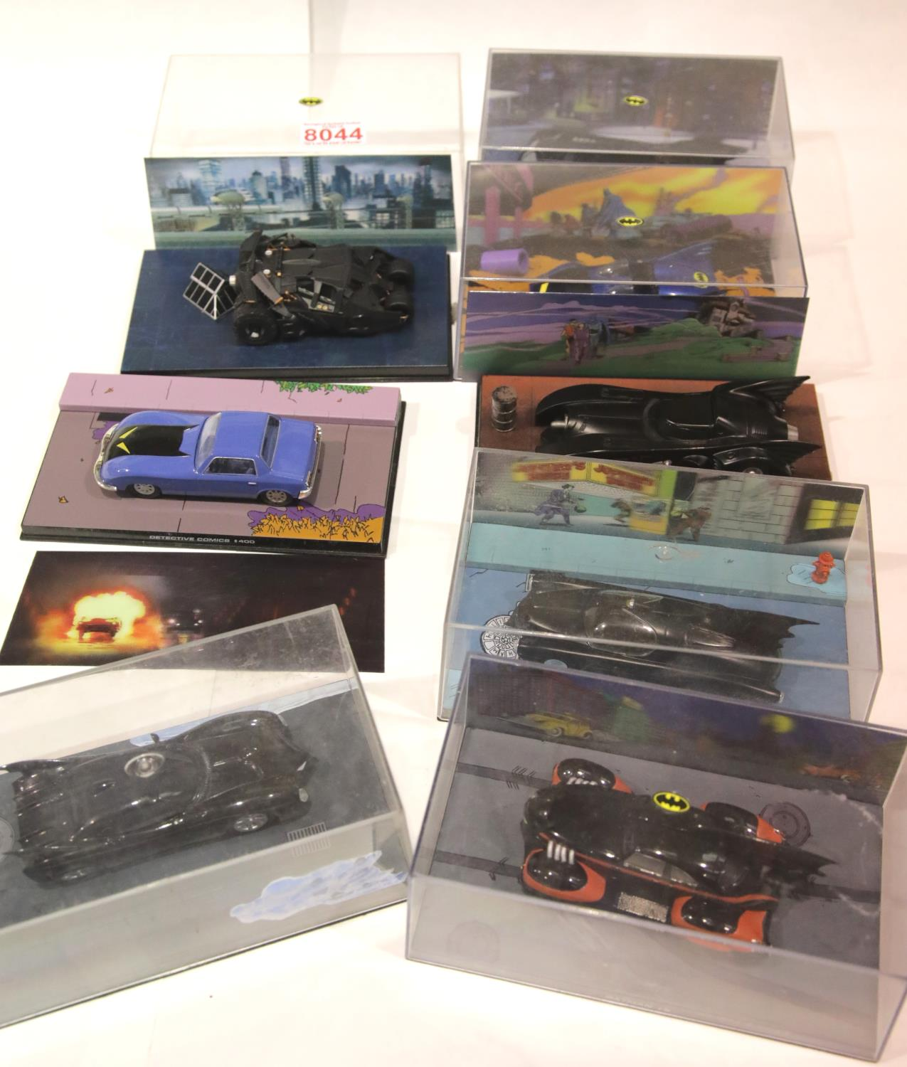 Eight Detective comics Batmobile models in original boxes. P&P Group 2 (£18+VAT for the first lot