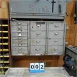 17-Drawer Wallmount Cabinet, 1/4 Full - Hardware