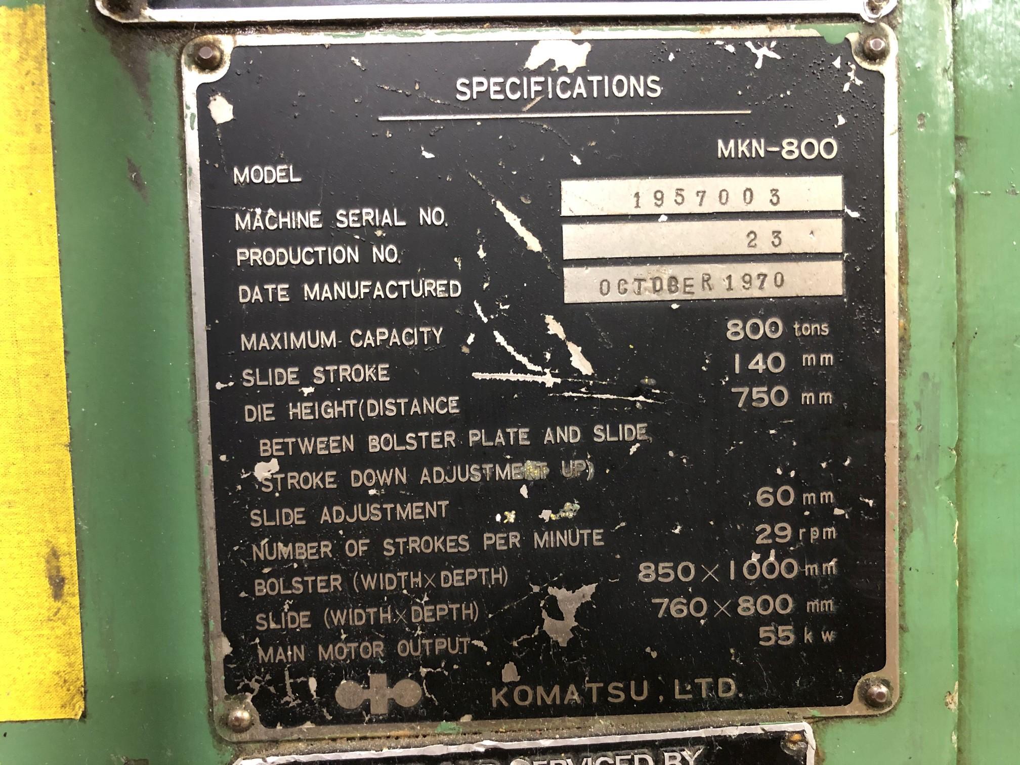 800 Ton Komatsu Maypress Knuckle Joint Press - Image 17 of 18