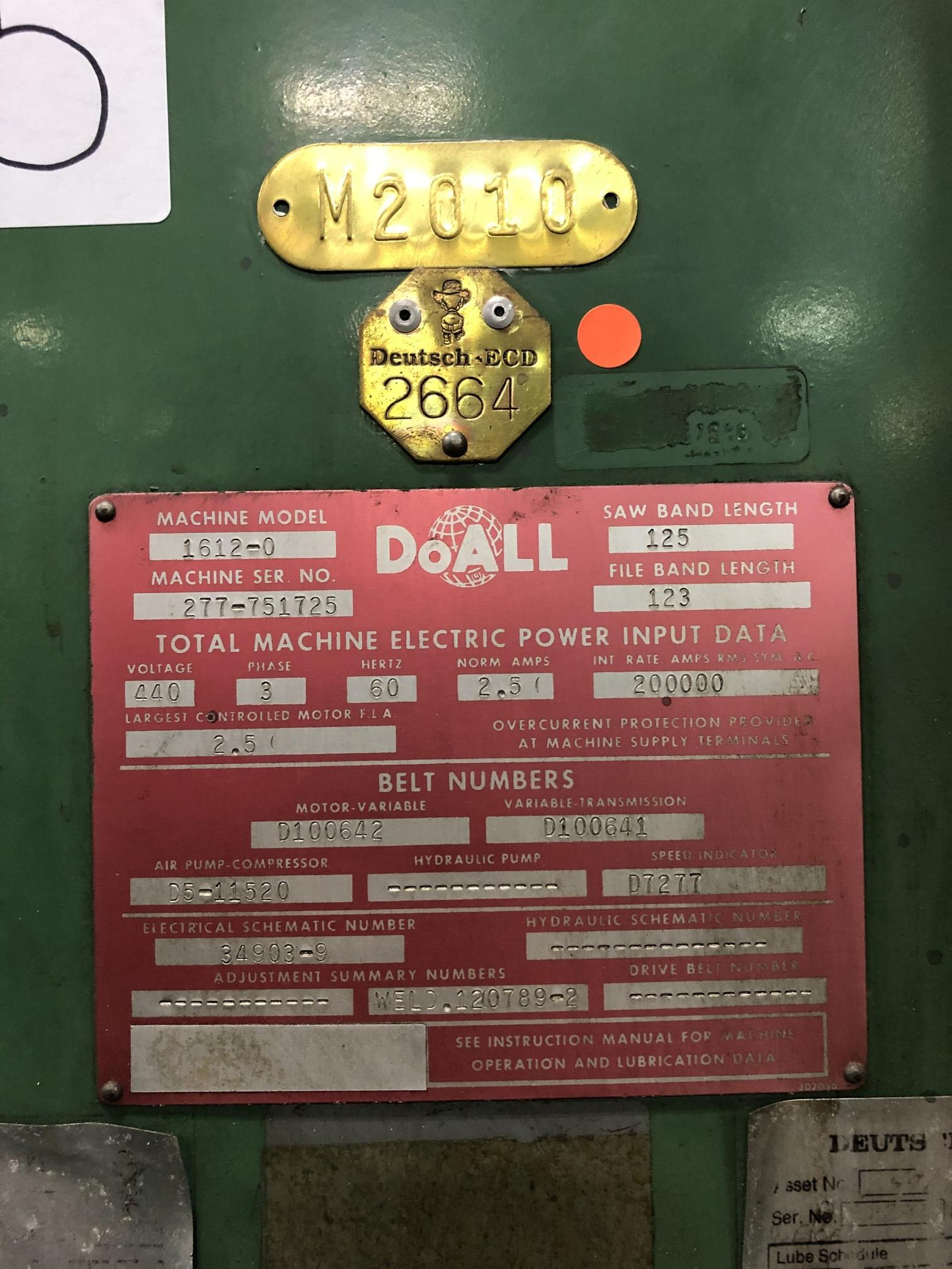 """DoAll 16"""" Vertical Band Saw - Image 4 of 4"""