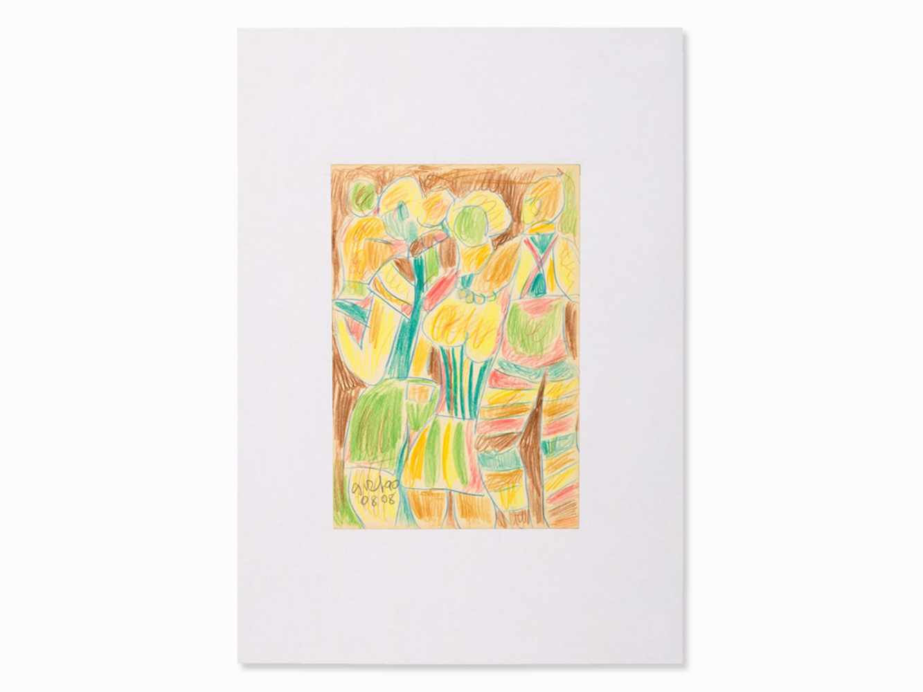 Miklos Németh, Drawing, Colorful Figures, Hungary, 2008<