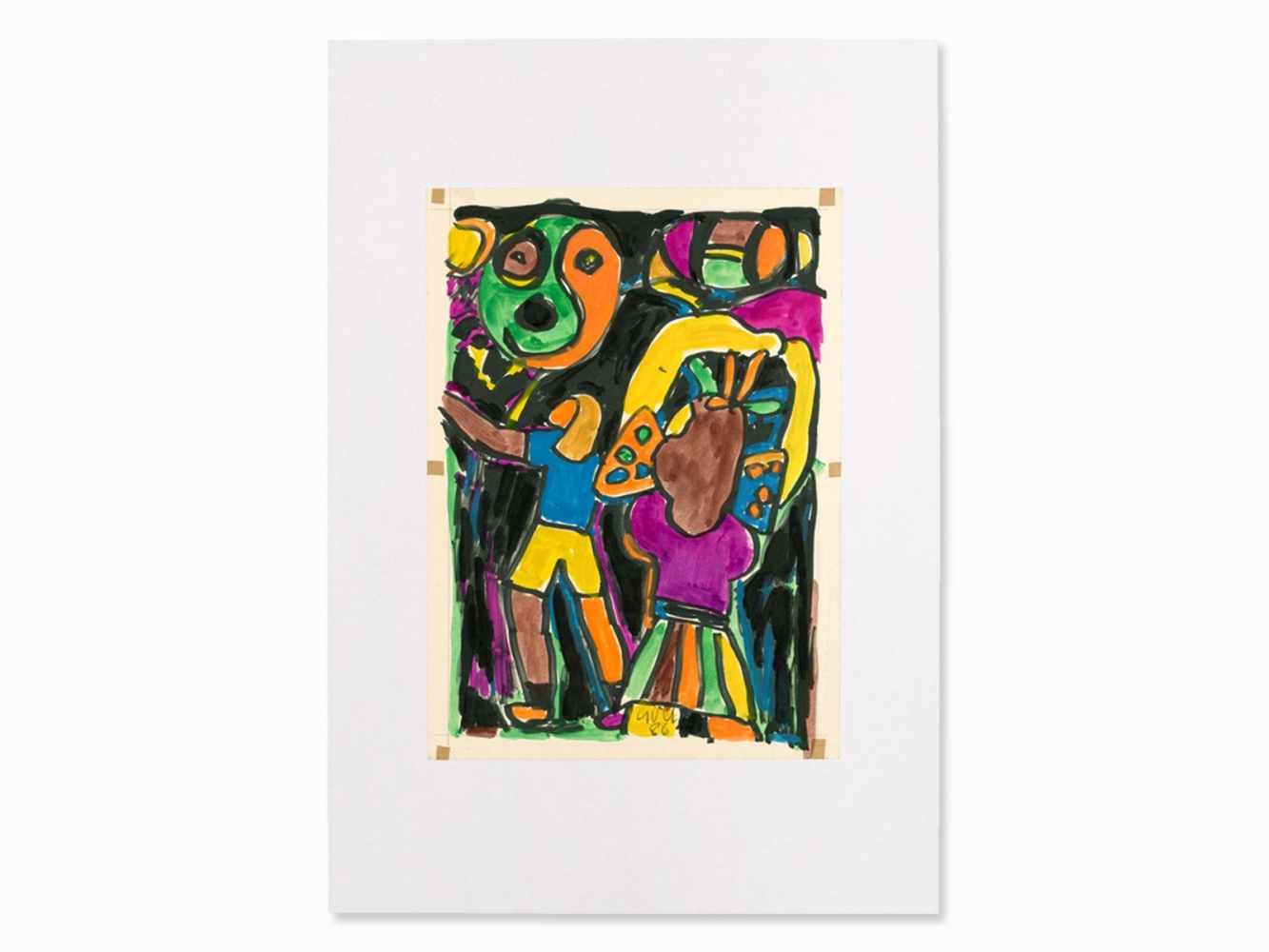 Miklos Németh, Mixed Media, Colorful Composition, Hungary, ´86<b