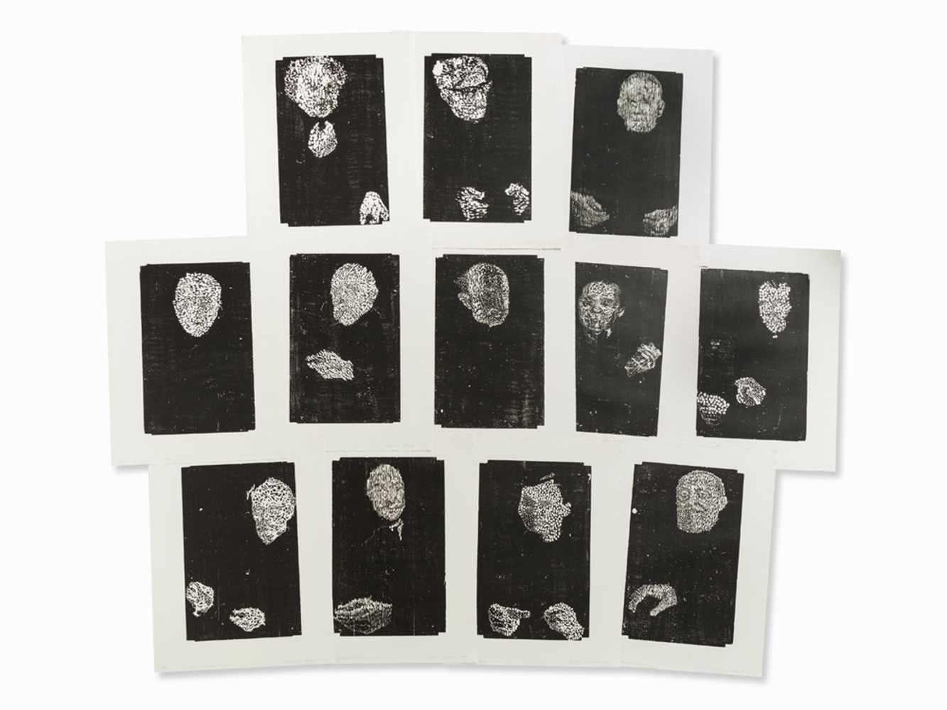 Matthias Mansen, Symposion (Köpfe), 12 Woodcuts, 1999<