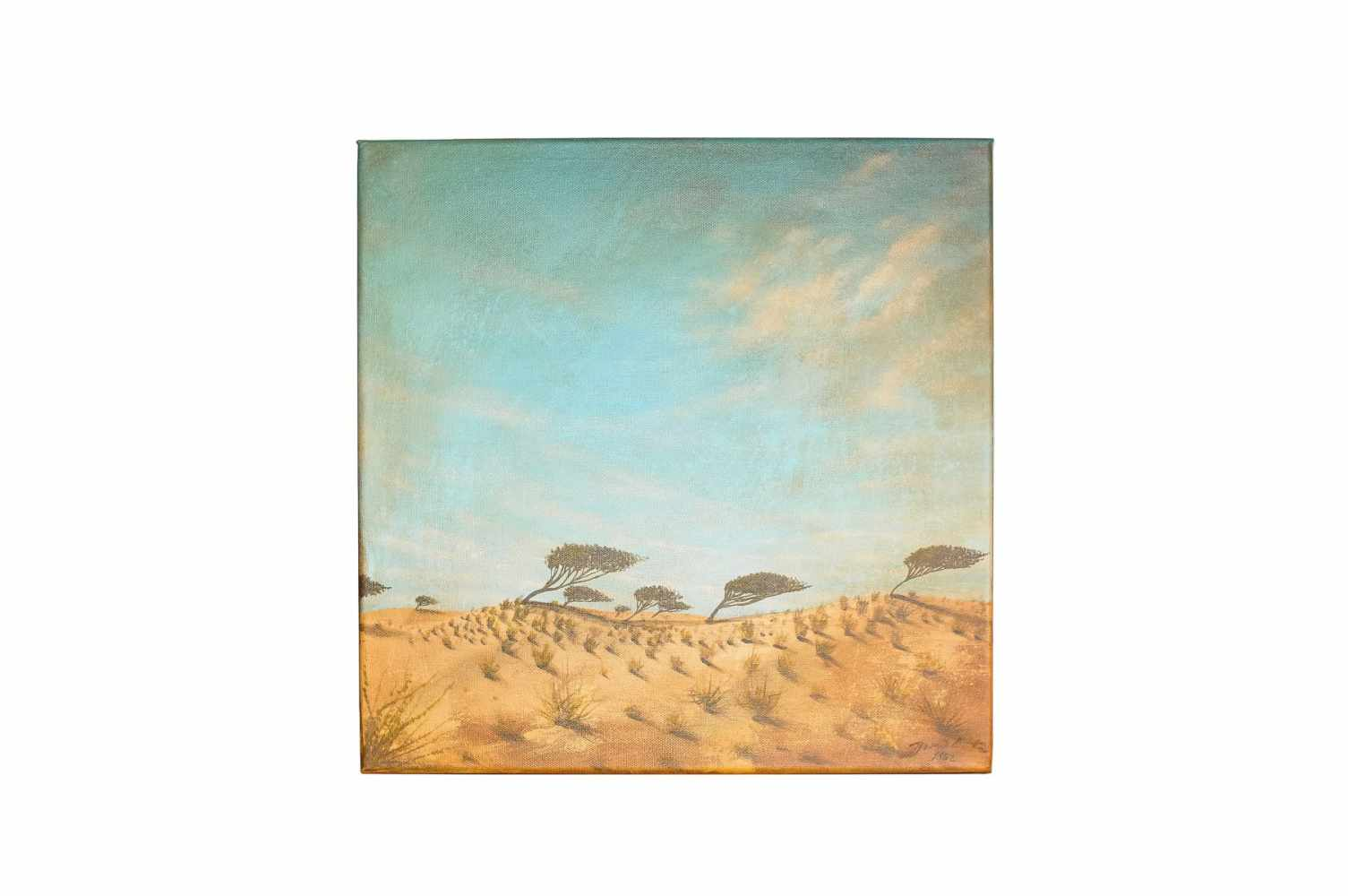 """Jose Vicente """"Steppe landscape with trees in the wind"""""""