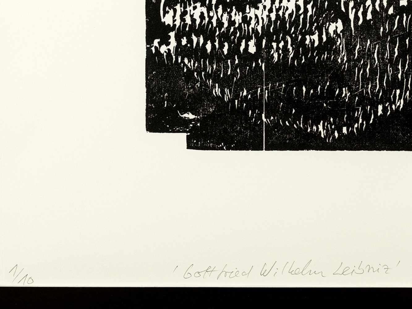Matthias Mansen (b. 1958), G.W. Leibniz, Woodcut, 1999 - Image 3 of 9