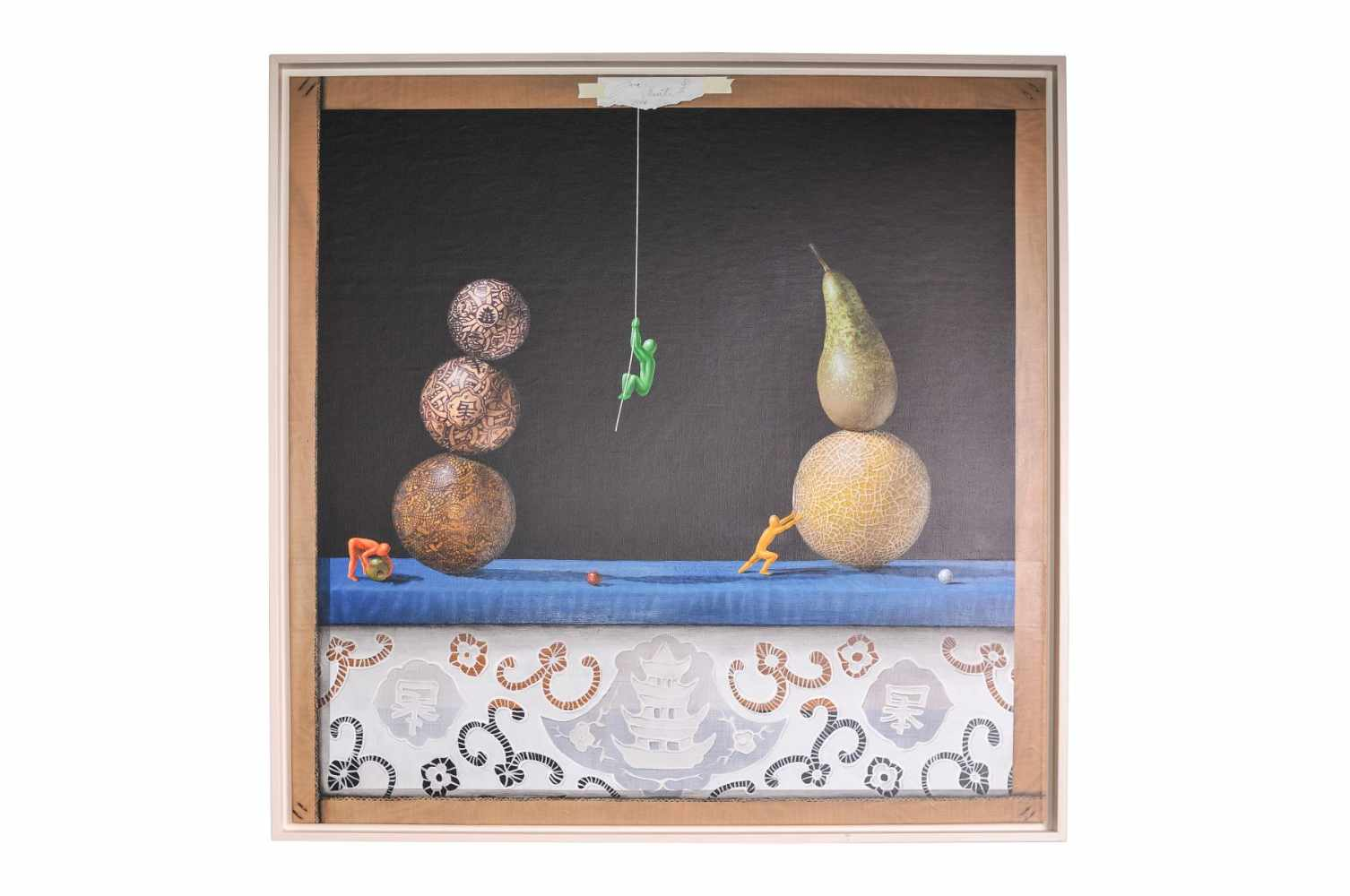 "Jose Vicente ""Still life with balls, fruit and colorful men"""