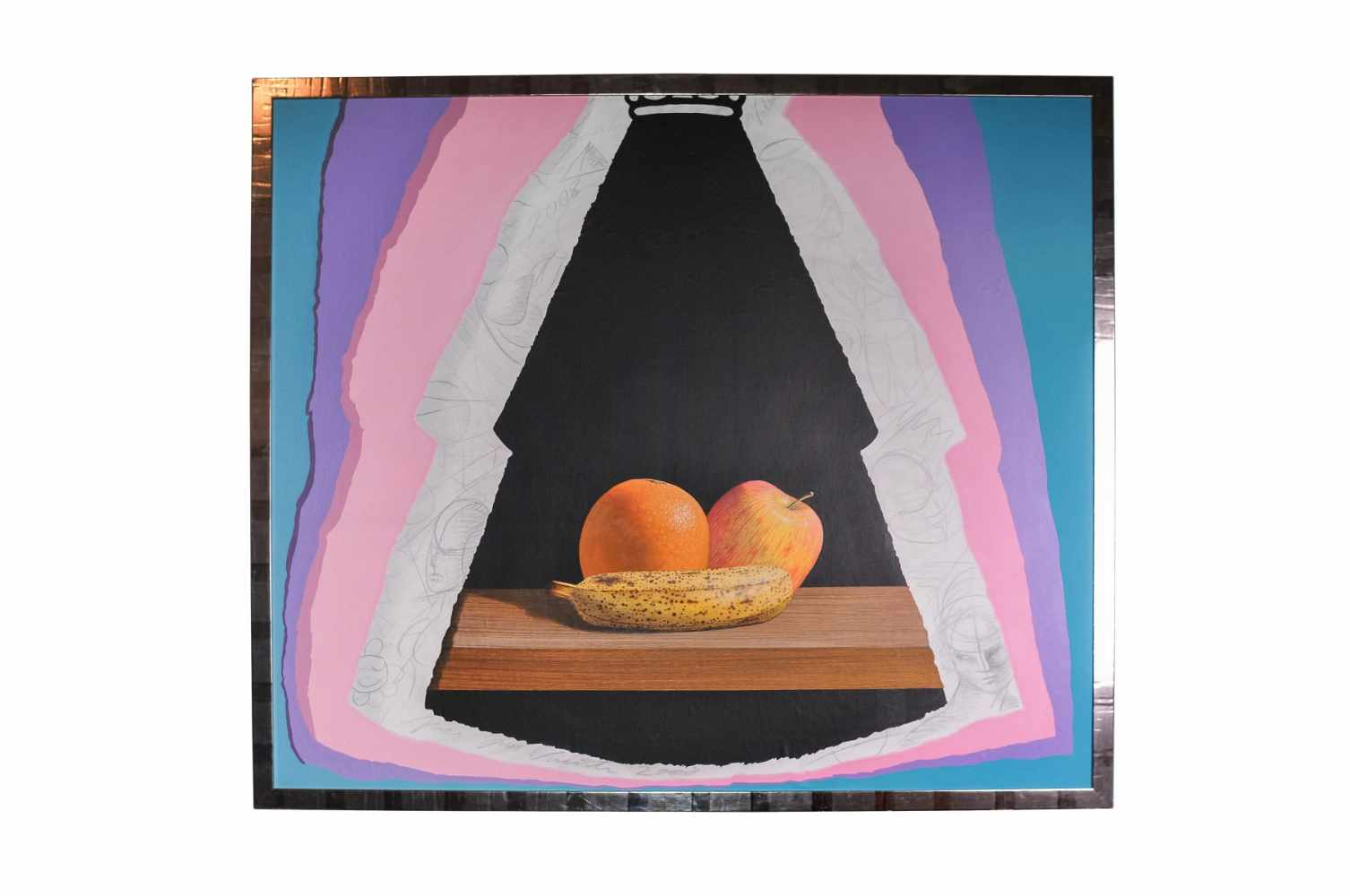"Jose Vicente ""Still life with apple, banana and orange"""