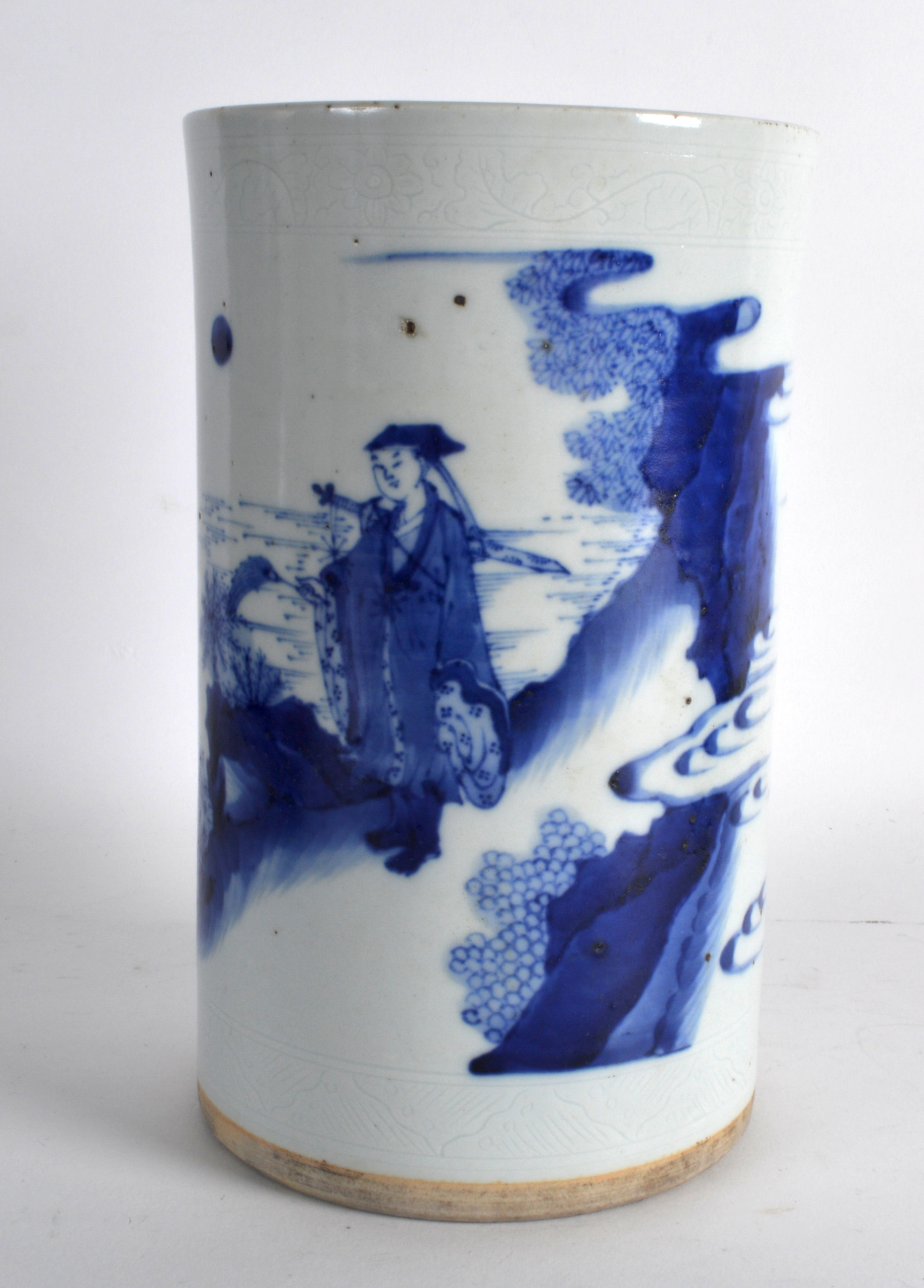 a chinese blue and white brush pot painted in the transitional style