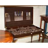 CANTEEN CUTLERY TABLE WITH VARIOUS CUTLERY