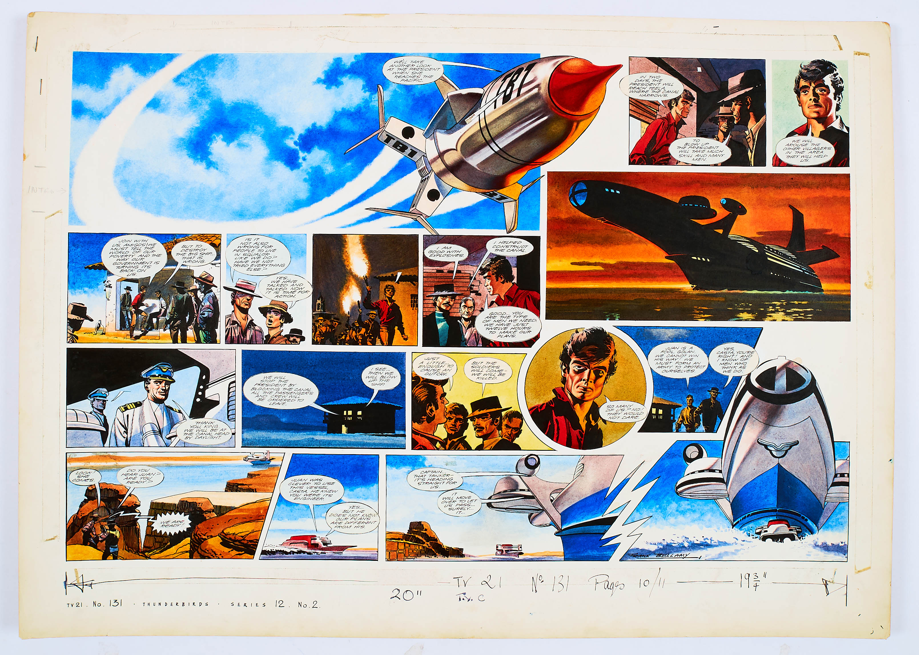 Lot 102 - Thunderbirds original double-page artwork (1967) drawn, painted and signed by Frank Bellamy for TV