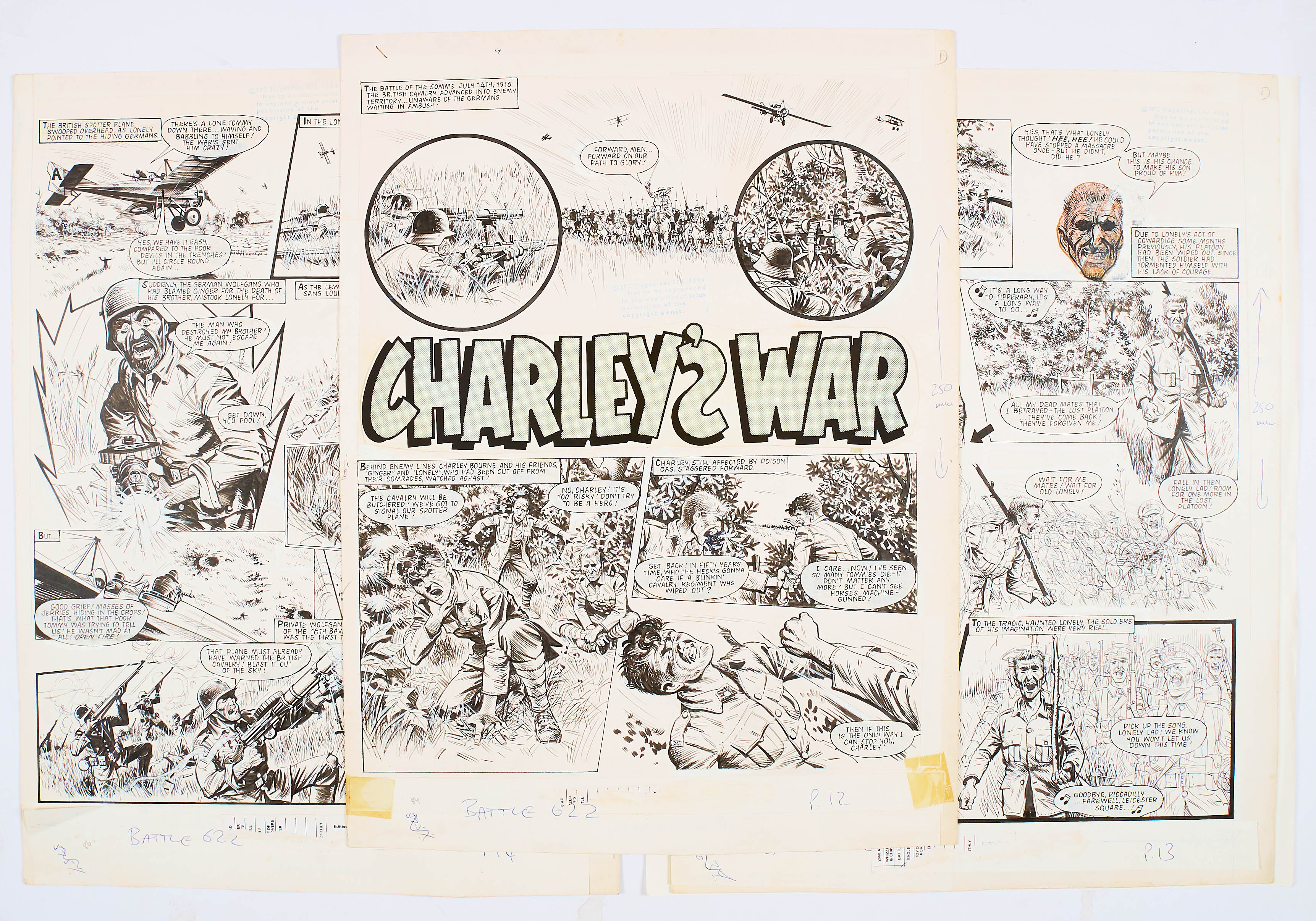 Lot 113 - Charley's War three original artwork pages by Joe Colquhoun from Battle No 622 (1984). The battle of