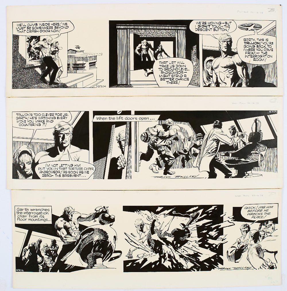 Lot 104 - Garth: 3 original consecutive artworks (1973) drawn and signed by Frank Bellamy from the Daily