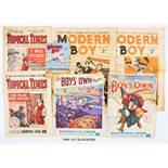Modern Boy (1938 New Series) 3, 6, 9, 12, 16, 18-21, 26, 27 with free gift Modern Boy Pocket Stamp