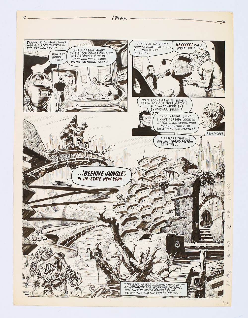 Lot 110 - 2000 AD / Inferno original artwork by Massimo Benardinelli from Prog 58 page 28 April 1 1978. Indian