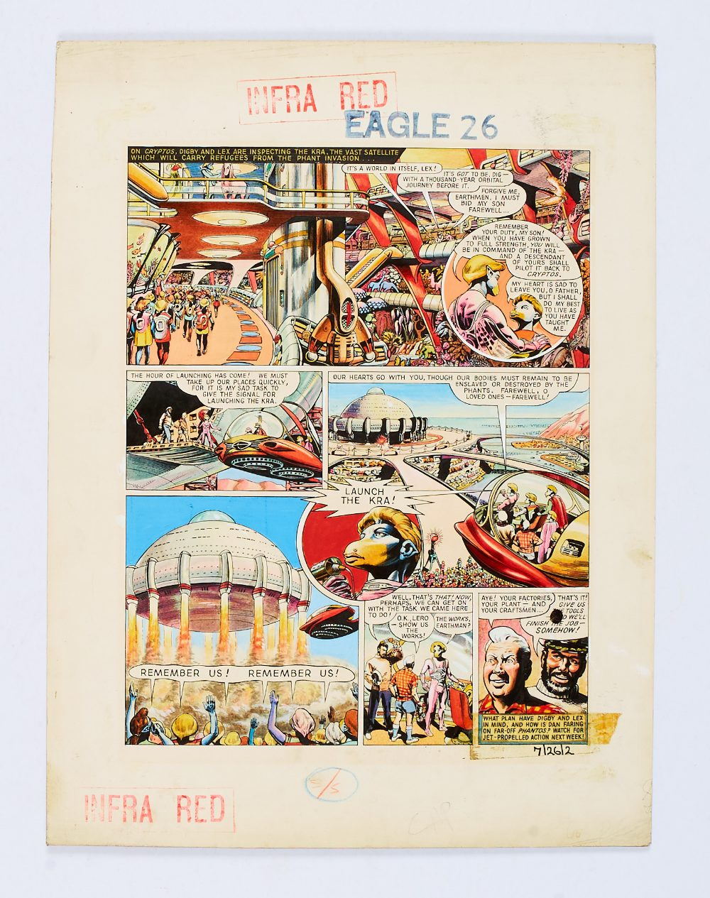 Lot 70 - Dan Dare original artwork (1956) drawn and painted by Frank Hampson for The Eagle Volume 7 No 26.