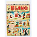 Beano/Biffo the Bear original front cover artwork (1953) drawn, painted and signed by Dudley Watkins