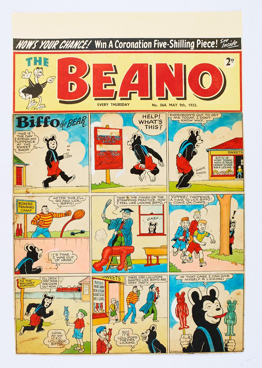 Lot 58 - Beano/Biffo the Bear original front cover artwork (1953) drawn, painted and signed by Dudley Watkins