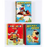 Mickey Mouse Annuals 1941, 1943, 1946. 1941: some spine wear, cream/light tan pages, eight with