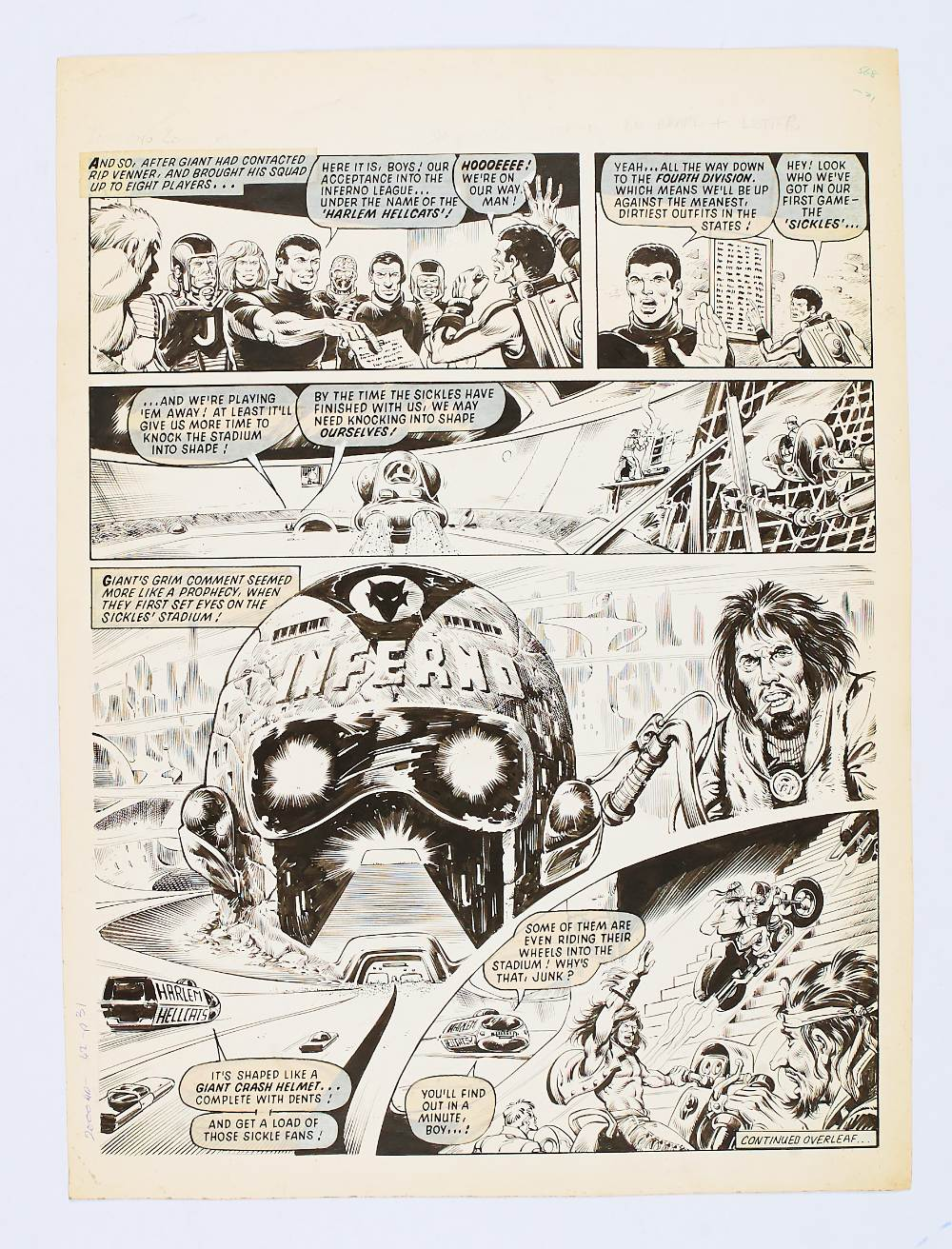 Lot 109 - 2000 AD / Inferno original artwork by Massimo Benardinelli from Prog 45 page 31 Dec 10 1977.
