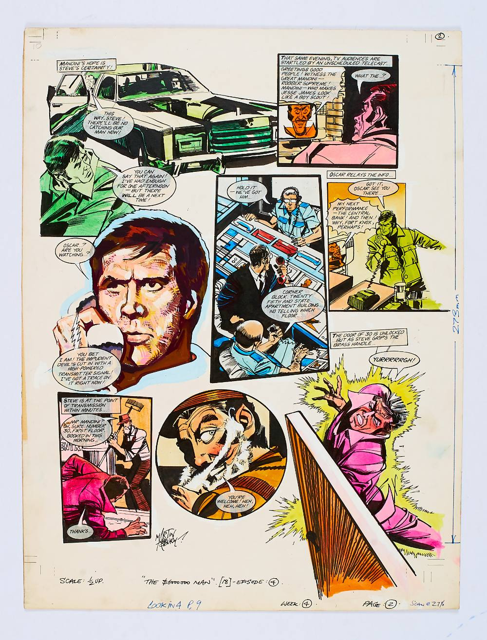 Lot 107 - Six-Million Dollar Man original artwork (1975) painted and signed by Martin Asbury for Look-in 4