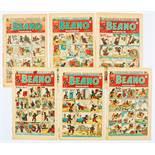 Beano (1948) 329, 335, 337, 343-345. Worn spines most retrieved from bound volume. 337 [vg], balance