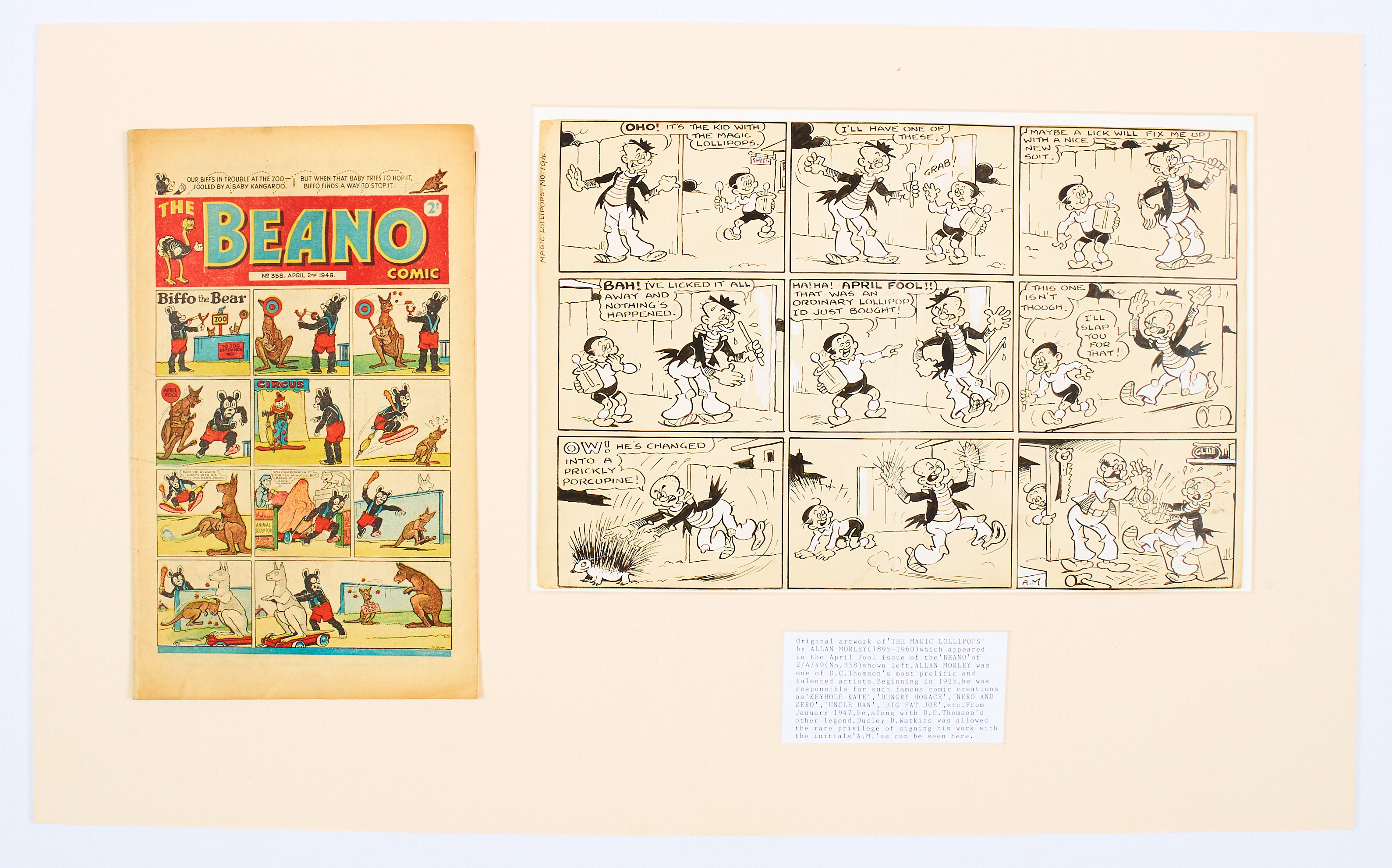 Lot 18 - Magic Lollipops April Fool original artwork (1949) drawn and initialled by Allan Morley for The
