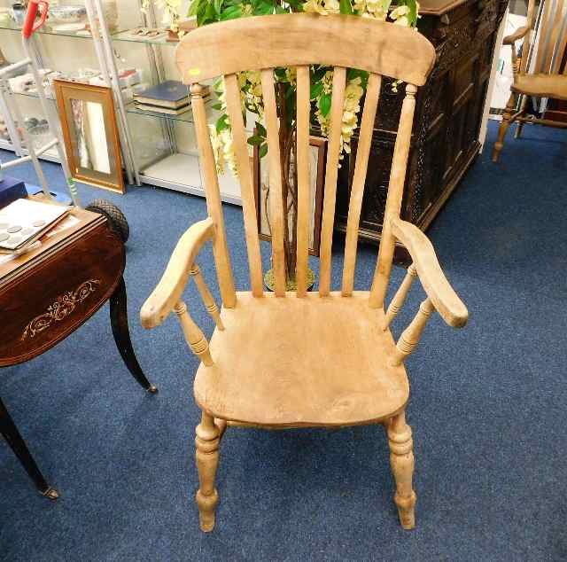 Lot 36 - A large 19thC. slat back beech & elm armchair