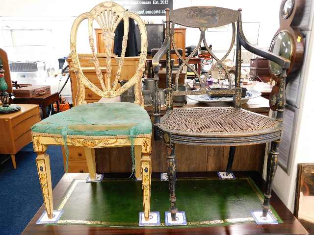 Lot 47 - Two 19thC. decorated chairs, some faults