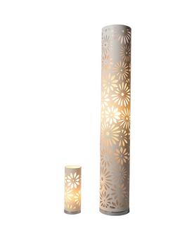 Laser cut cylinder floor lamp and matching table lamp lot 168 laser cut cylinder floor lamp and matching table lamp mozeypictures Gallery