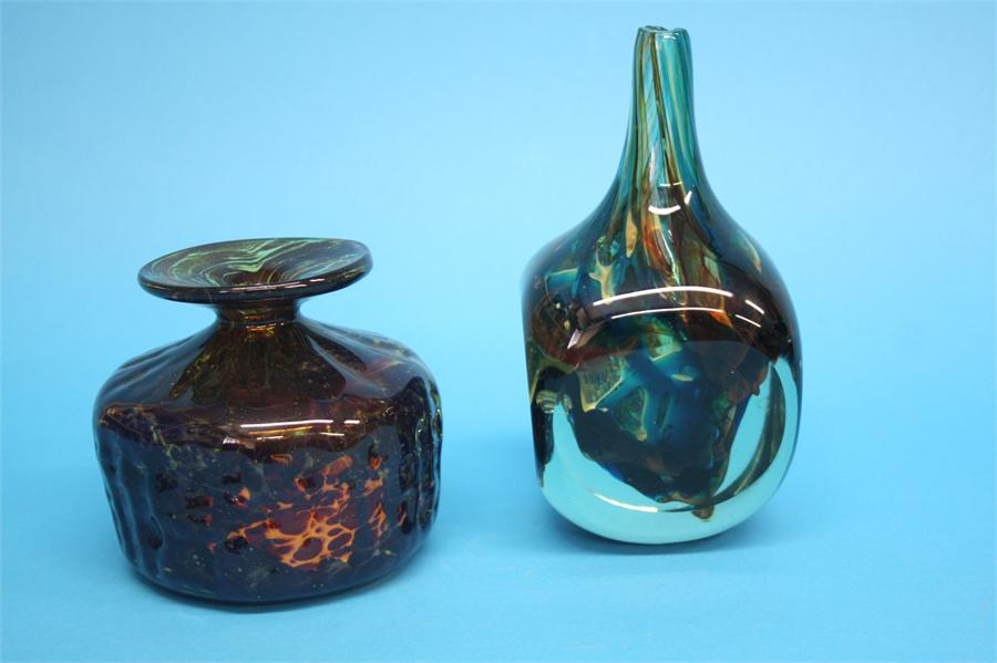 "Lot 50 - A M'dina ""axe head"" glass vase, etched marks, dated 1977 and bears signature, another vase with"