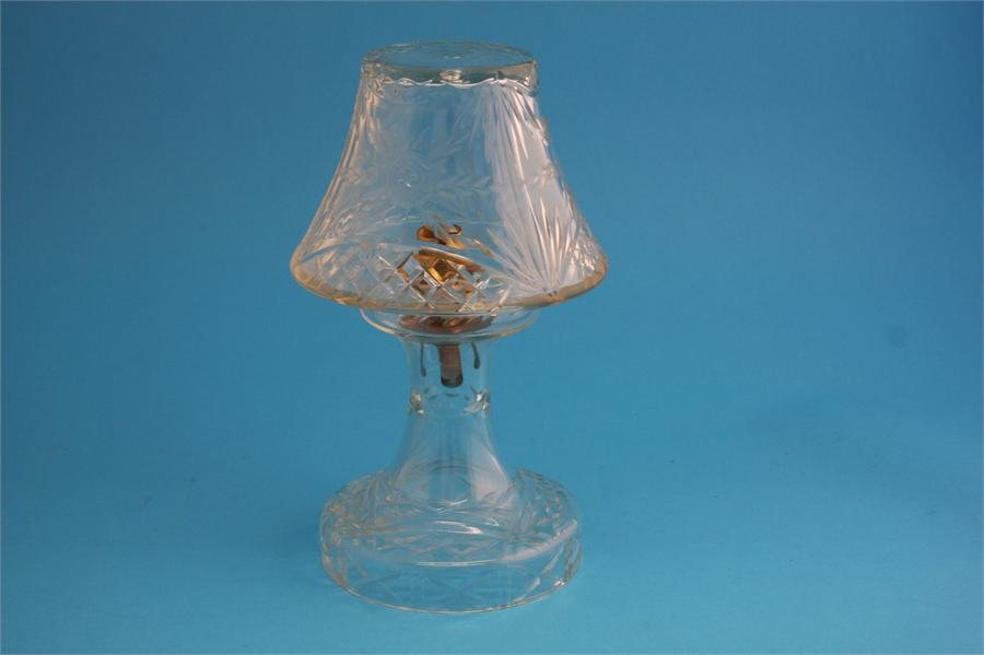 Lot 1 - A cut glass table lamp and shade.  28 cm high