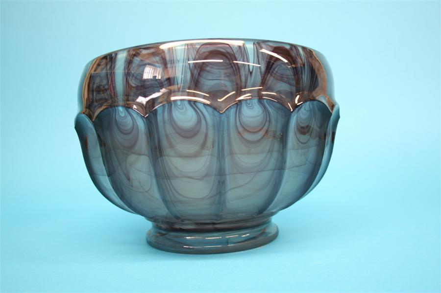 Lot 41 - A large Davidsons purple cloud glass circular bowl.  25 cm diameter