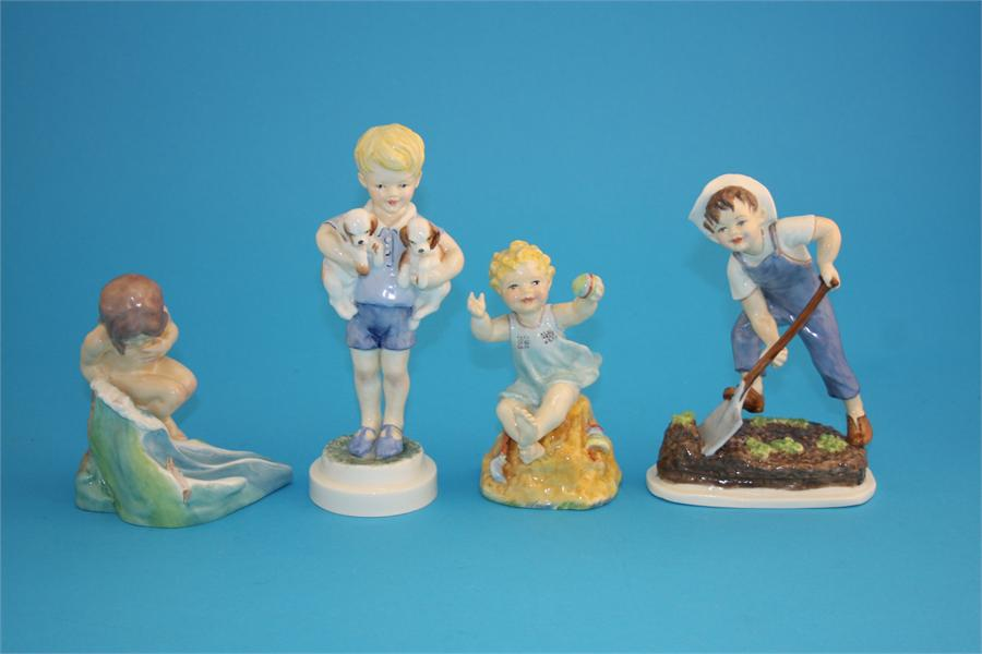 """Lot 17 - A Royal Worcester figure """"August"""" modelled by F G Doughty, printed mark number 3441; and three"""