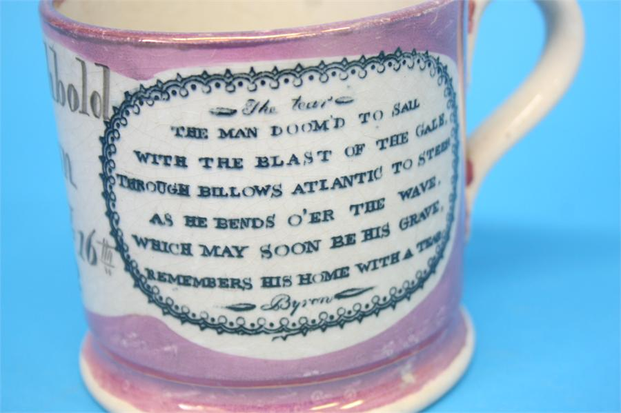 Lot 58 - A Sunderland pink lustre christening tankard for Taylor Archbold Gibson, born January 16th 1802.