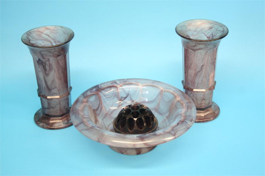 Lot 44 - A 1930's Davidsons purple coloured cloud glass circular pedestal bowl and a matching pair of