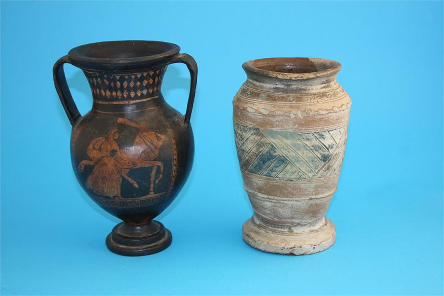 Lot 34 - A Greek Apulian two handled vase decorated with classical figures and a contemporary hand thrown